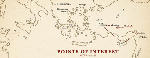 Map of Points of Interest from Acts 14:8-21