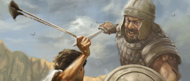David facing Goliath painting