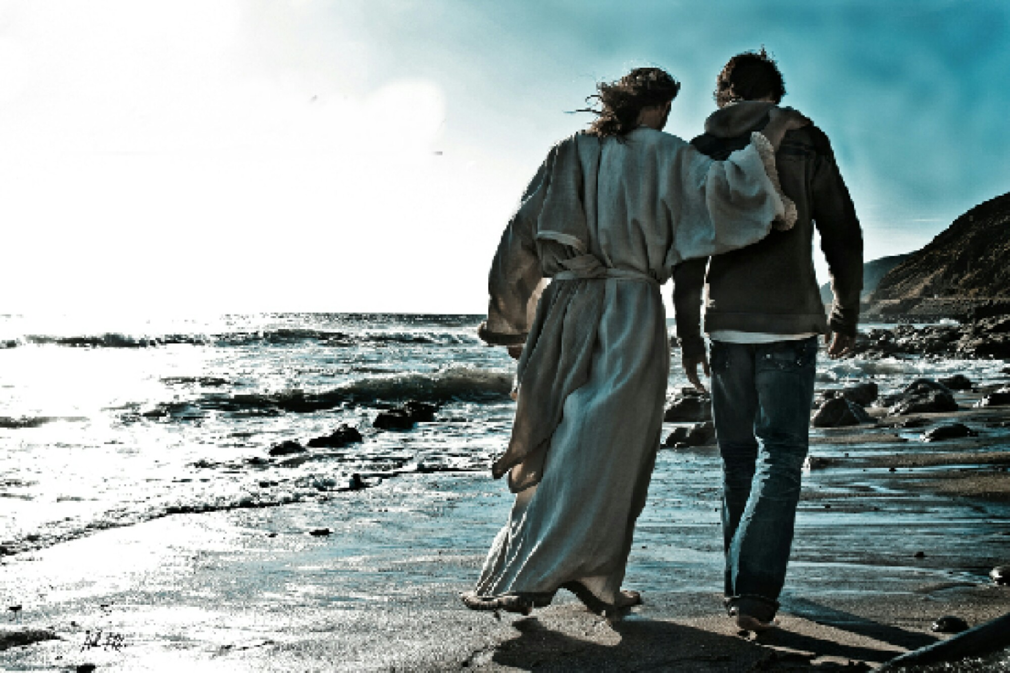 Jesus walking with young man